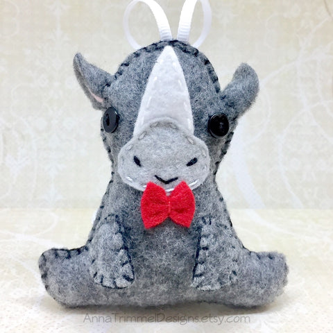 Felt rhino ornament