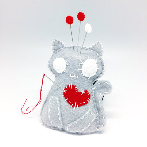 gray cat felt pincushion