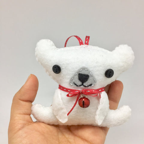 Polar Bear felt christmas ornament