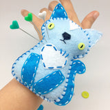 Felt Cat pincushion wristband in blue