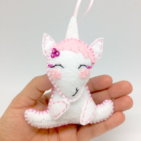 Pink unicorn felt ornament