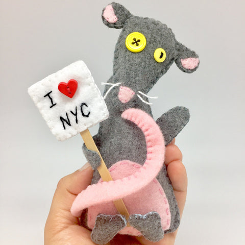 Felt Rat I Love NYC handmade Ornament