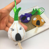 Felt Onion ornaments home decor gift idea