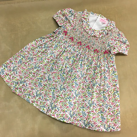 Meleze Hand smocked and embroidered rosebud dress