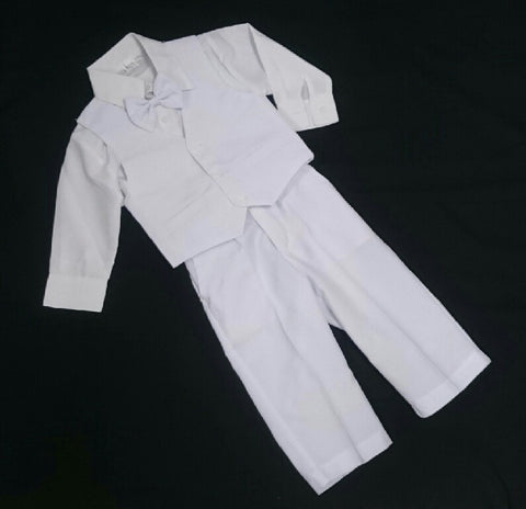 Buu Buu Christening Wedding Formal Suit White 4 Piece including Bow Tie Size 00