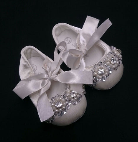 R Divine Christening Shoe Ivory Satin Ballet Slipper with Sliver Bead and Diamante detail