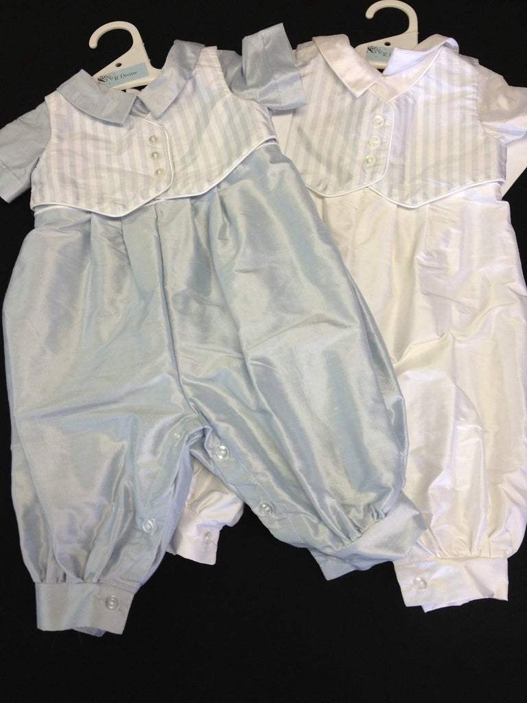 R Divine Christening Suit LUKE White Silk with Blue Stripe Waistcoat