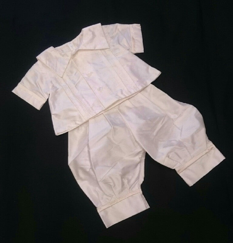 R Divine Christening Suit ROCCO Silk with Latte Trim Size 00