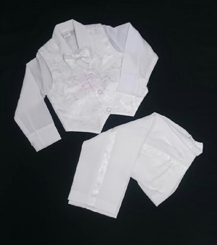 Kids Adventure Christening Formal Suit White 4 Piece including Bow Tie