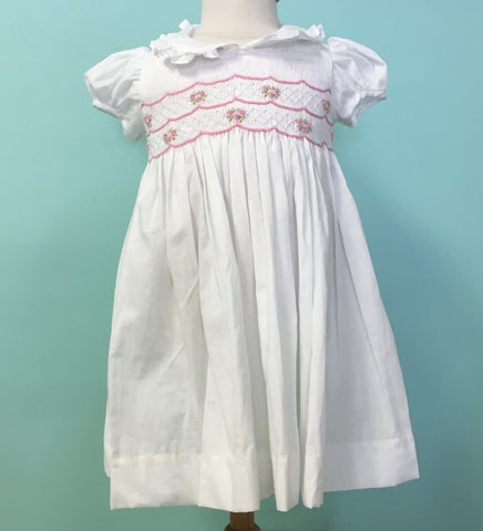 Meleze White/Pink hHand Smocked Dress