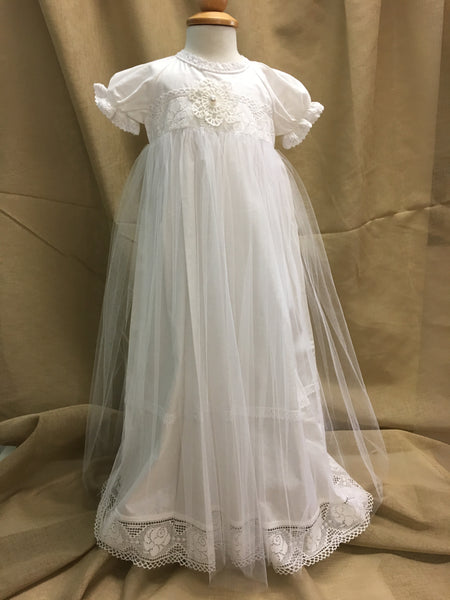Olli Christening Gown Dress Pearl White with Matching Bonnet