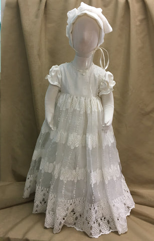 R Divine Christening Gown Dress  LISA Ivory with Bonnet