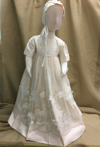 R Divine Christening Gown Dress  LOLA  Pearl Silk with Bonnet