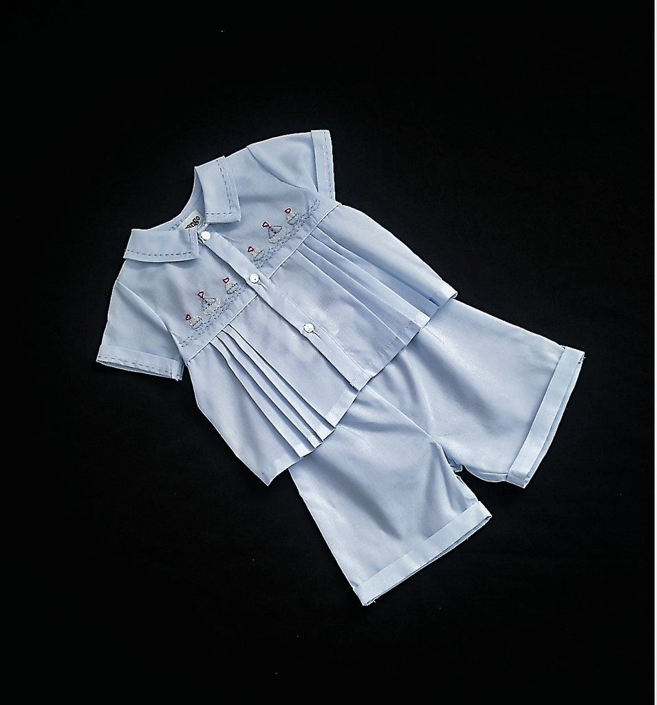 Korango Christening Shirt and Short Set Blue 0 - 3 months C6012