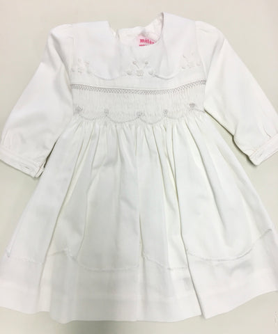 Meleze White String Jasmine Hand Smocked Dress Long Sleeve W001W