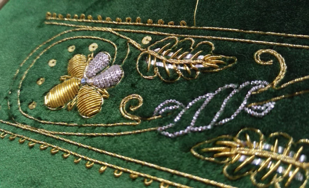 Alison Cole - Goldwork on green velvet for the All England Tour