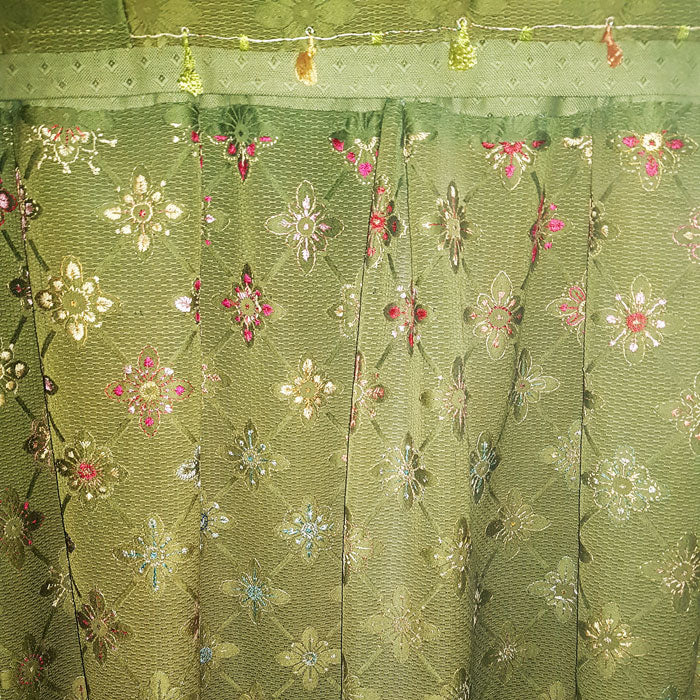 Beatrix Potters curtains (embroidered by the author herself) at Hill Top House