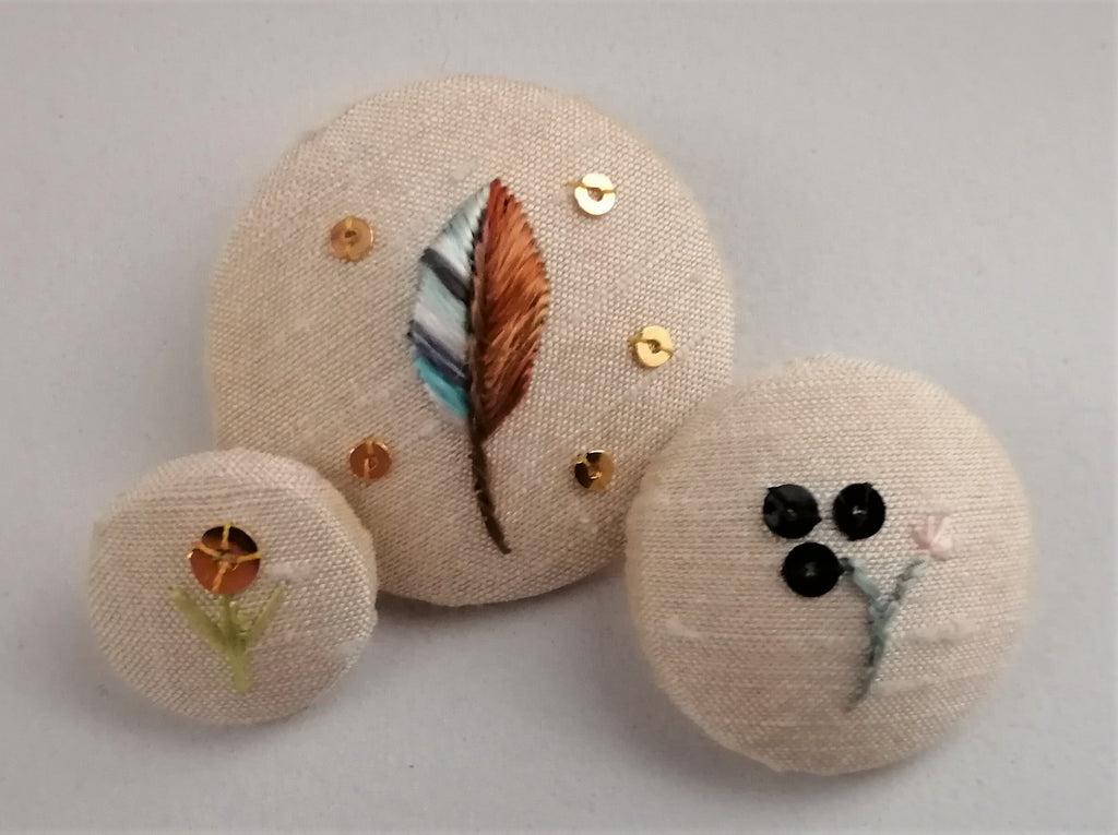 Silk embroidered buttons by Mandy Ewing