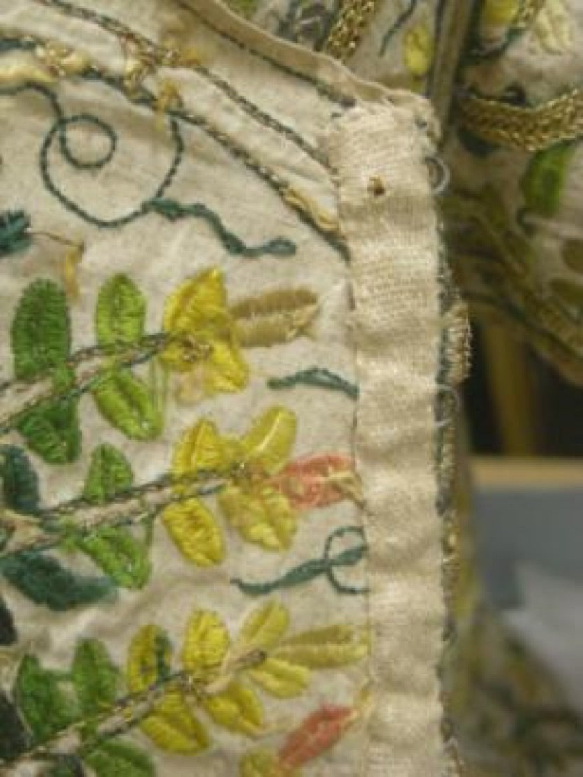 Elizabethan bodice - fastening edge showing narrow tapes use to cover metal eyes