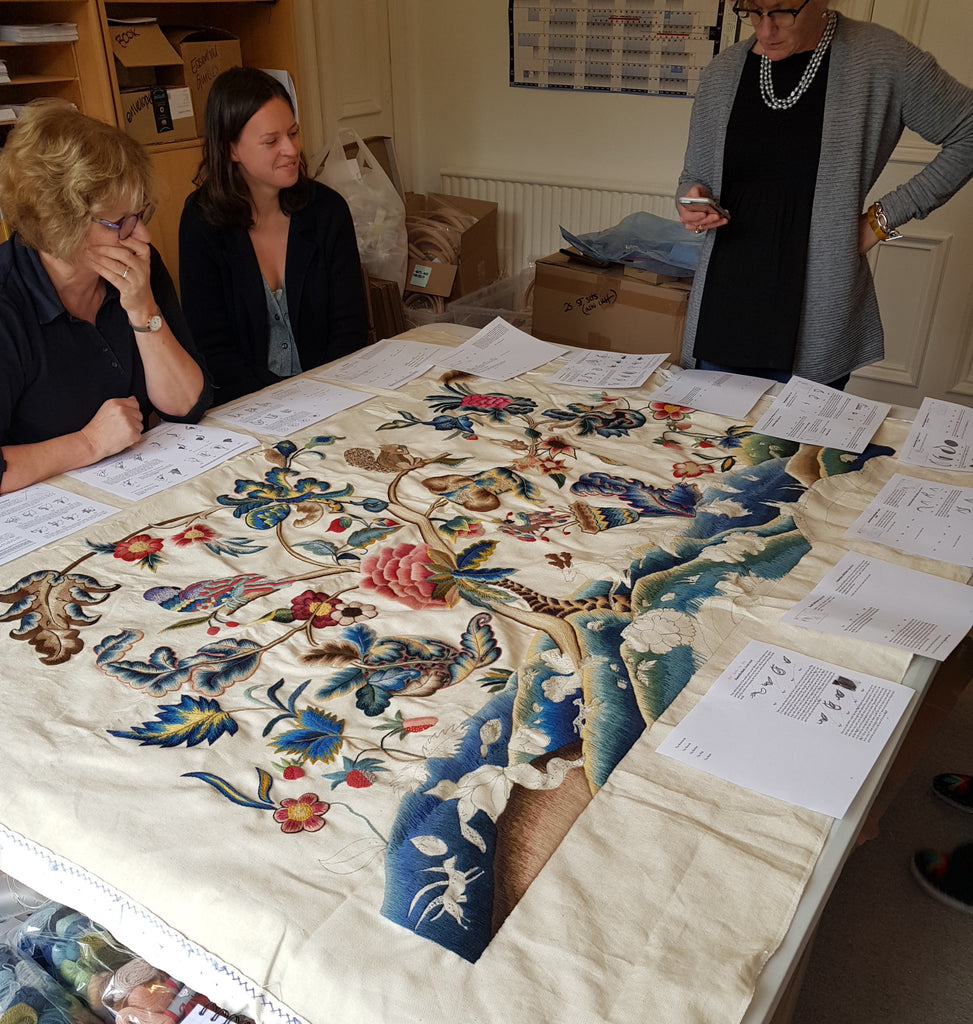 Phillipa, Laura and Harriet with the nearly finished Muncaster Bed Hanging