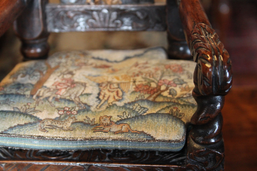 Petit Point miniature oak carved arm chair from Muncaster Castle
