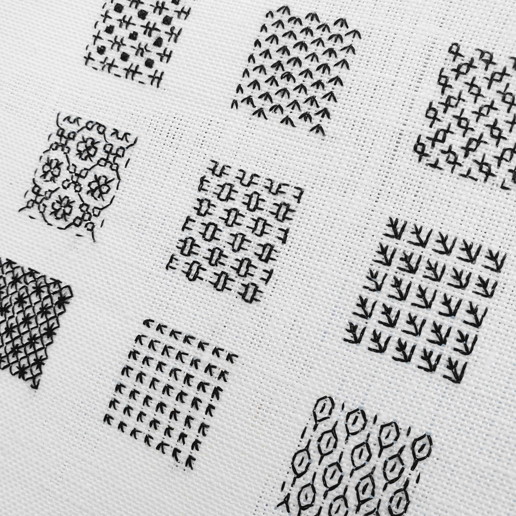 Kate Barlow's blackwork sampler for the Stratford Retreat