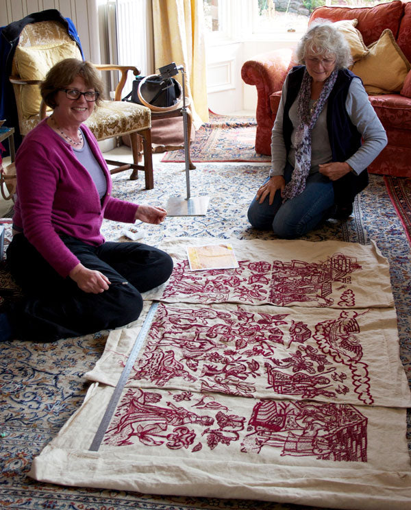 Phillipa assembling the original replica Altar Frontal with Val Osborne