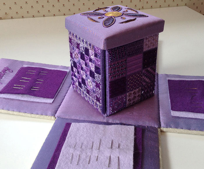 Purple embroidery box by Nicola Fairhurst