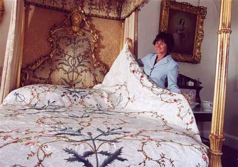 Phillipa presenting the Queen Mother's Bedspread at Glamis Castle