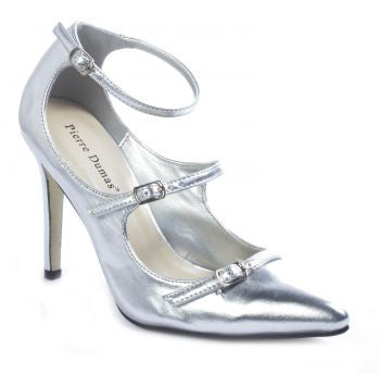 Pierre Dumas Cherry-7 Women Pointy Toe Ankle Strap Silver Shoe-SHW