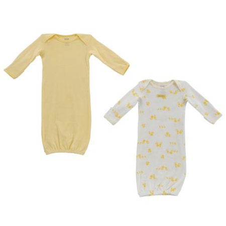 Carter Child Of Mine 2 Piece Gown Set, Yellow & Cream, Ducks, 0-3m