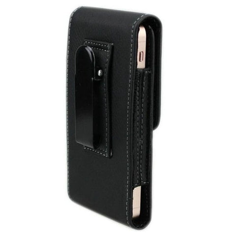 Vertical Belt Clip iron Clamp PU Leather Pouch Case Magnetic Snap For iPhone 5-Black