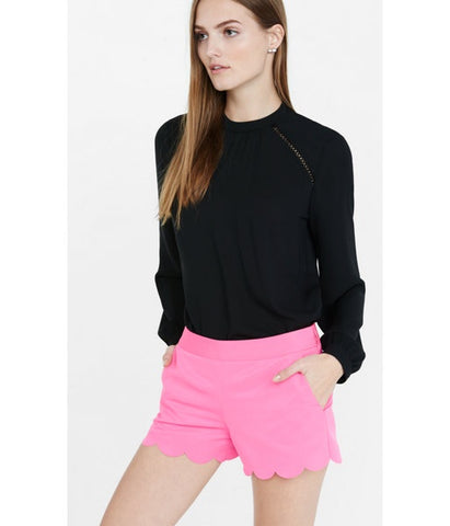 Express Ladies Scalloped Hem Soft Shorts-Pink-SHG