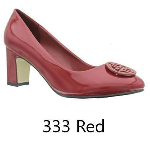 Pierre Dumas Women Carrie-2 Vegan Leather Classic Rounded-Toe Chunky Heel Dress Pumps- Red-SHG