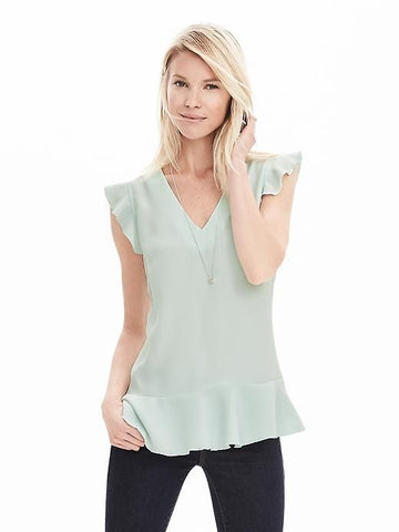 Banana Republic Women Sleeveless Ruffled Top Mint Green-SHW/SHG