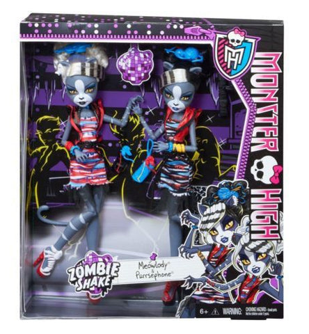 Monster High Zombie Shake Meowlody And Purrsephone Doll, Age 6+