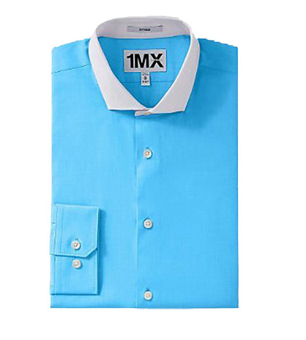 Express Men Fitted Longsleeve Shirt Bright Blue-SHW