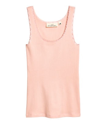 H&M 1670/1 Women Lace-Trimmed Cotton Vest Top  Powder Pink-SHW/SHG/SHF