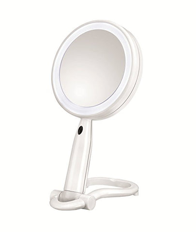 Conair Round Shaped Plastic LED Double Sided Lighted Makeup Mirror; 1x/3x magnification- White