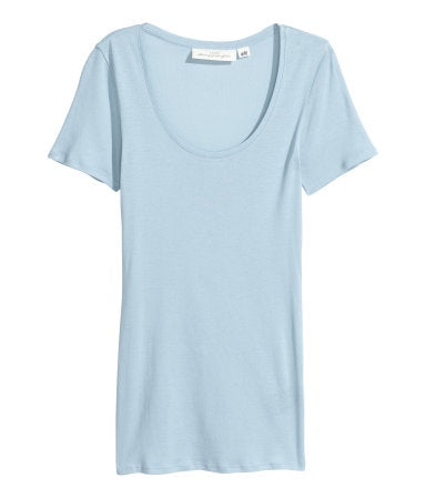 H&M 1670/1 Women Short Sleeved Jersey Top Light Blue-MT