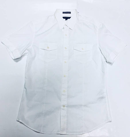 Banana Republic Men Short Sleeve Shirt Two Pockets White-GL