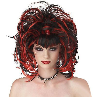 Ladies Evil Gothic Witch Vampire Wig Adult Women Devil Red Fancy Dress Costume