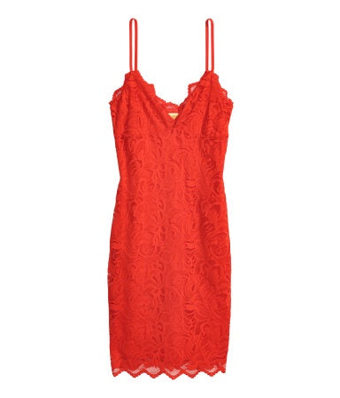H&M 1926/1 Women Fine Strap Lace Dress Bright Red-SHW