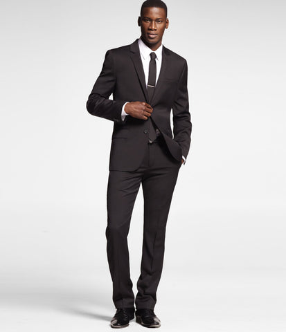Express Men 1312 Photographer Slim Fit Straight Leg Black Suit Pants-GL