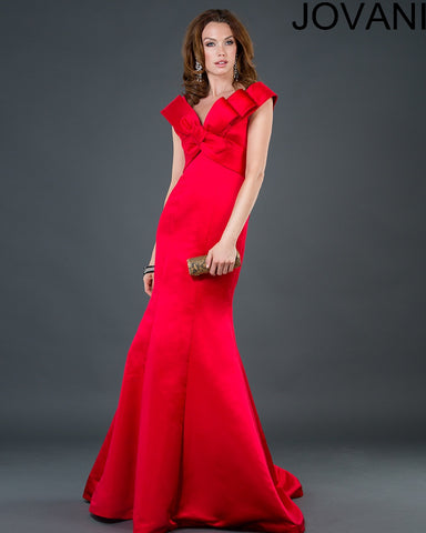 Jovani 74491A Women Bow Front Long Red Dress-GL