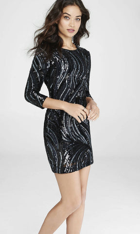 Express Women 8568 Black Sequined Mini Dress-GL