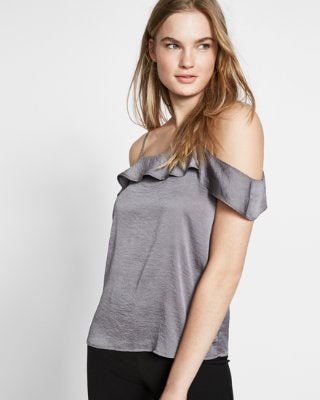 Express Women Grey Satin Cold Shoulder Ruffle Cami-SHW