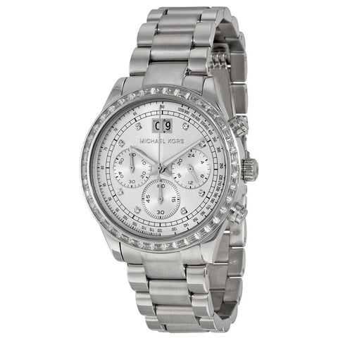 Michael Kors MK6186 Women  Brinkley Chronograph Silver Dial Stainless Steel Watch-GL