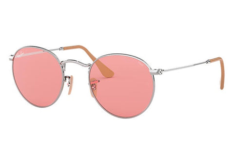 Ray-Ban RB3447 9065V7 Men UV Protected Phantos Silver Frame  With Pink Lens Sunglass-GL