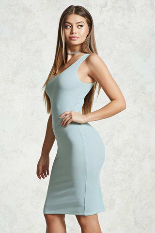 F21-Women Contrast Stitch Bodycon Dress-Dusty Blue-SHW